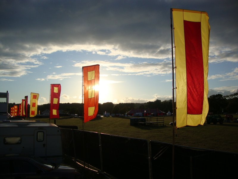 Sunlit banners at Rewind Festival