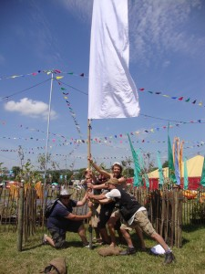 Shhh! Flag hire crew at Glastonbury - long ago in different galaxy